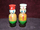 Vintage Wood Wooden Hand Painted Chef Salt and Pepper Shakers figurine Japan