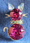 VINTAGE SIGNED DODDS RUBY RED FACETED RHINESTONE CAT PIN BROOCH