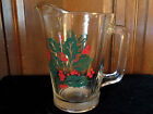 Vintage CASA Beverage Pitcher Featuring Holly & Berries Motif-Clear Solid Glass