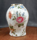 Antique porcelain bud vase, handpainted embellishment, flowers with gilt