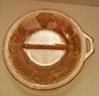 Gold Indiana Carnival Glass Divided Relish Dish w/Tab Handle