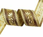 Woven Jacquard Ribbon Metallic Gold Craft Supply 4.Cm Wide Sari Border By The Ya