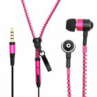 Pink Zipper Headphones Earphones Earbuds with Mic Microphone for Cell Phones New