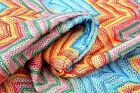 D33 SPECTAULAR 60'S PSYCHEDELIC LARGE CHEVRON LOOSE THREAD JAQUARD 100% COTTON