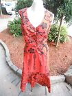 vtg. Ruth Clarage hand print Original maxi skirt with blouse red/black floral m