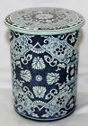 VINTAGE MADE HOLLAND ENAMEL SMALL FLORAL DECORATIVE COLLECTIBLE TIN CONTAINER