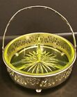 vTg Vaseline Depression Glass Candy Nut Divided Relish Dish Silver Basket