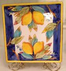 Baum Brothers Rare Style Eyes Lemons on Blue Collection Square Platter / Plate