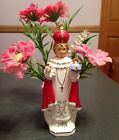 VINTAGE  INFANT OF PRAGUE PLANTER 8 1/2 INCHES TALL WITH PLASTIC FLOWERS