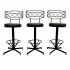 3 Vtg Mid Century Modern Black Wrought Iron Curved Back Swivel Bar Stools Chairs