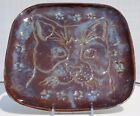 Ceramic Brown and Blue plate with Cat and Paw Prints