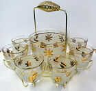 Vintage Libbey Mid Century Frosted Gold Leaf  Rocks Glasses Ice Bowl Caddy
