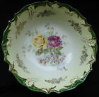 Bowl Red+Yellow Roses China Scalloped edge Gold Trim