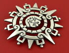 MEXICO STERLING SILVER 925 MAYAN AZTEC INCA SUN GOD VTG LARGE BROOCH PIN PENDANT