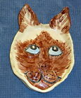 Handmade ceramic Siamese Cat Dish one of a kind sold by Outsider Artist!