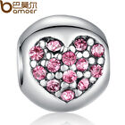 Shine Pink Crystals Heart Beads Charms Fitting 925 European Bracelet/Neckla​ce