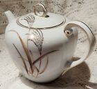 VINTAGE SONE CHINA TEA POT WITH LID - #1524 - GOLD WHEAT WITH GOLD TRIM - JAPAN