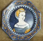 Castelli Italian majolica decorative plate with portrait