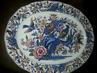 Antique Large Platter With Pheasant and birds a lot of blues, gold.