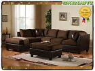 3PC Sectional Sofa Microfiber Faux Leather Set Chaise Couch Room Modern Living