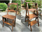 Antique Solid Wood Convertible Library Ladder Chair Step Stool Folding 1900s