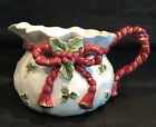 Fitz and Floyd 1990 Old World Santa Collection Christmas Holly Bag Pitcher