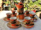 CUP SET - ORANGE WINDMILL TREE SCENE - MADE IN JAPAN