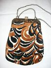 Vintage PURSE 1940's Tapestry Needlepoint Chenille SWIRL Metal Clasp