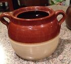 ANTIQUE VINTAGE BEAN POT Primitive Pottery Crock Jug 2 Handle 5-1/4