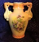 Vintage Made In Czechoslovakia Orange Porcelain Vase With Flowers Print, 5 1/2