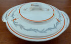Vintage art deco Burleigh Ware white with gray and orange lidded serving bowl