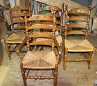 Set of 4 Hitchcock Ladder Back Chairs with Rush Seats