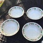 4 Gibson Christmas Charm White Coupe Cereal Bowl Gold Trim EUC