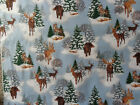 2 Yards White with Bear/Deer/Moose Flannel Fabric