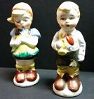 Pepper Shakers German Dutch Boy Girl Flowers Horn Made in Japan