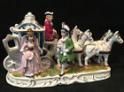 Old Vintage Horses Carriage Gentleman Maiden Lady Porcelain Figurine
