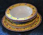SANGO china SANGRIA # 3075, 5 pcs (2 Soup, 2 Salad,1 Dinner) Yellows, Sue Zipkin
