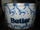 Antique Primitive Spongeware Stoneware Butter Crock Chicken Scratch