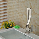 NEW Design Brushed Nickel Bathroom Faucet Waterfall Deck Mounted Sink Mixer Tap