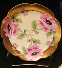 Haviland France Limoges Hand Painted Plate With Poppy Flowers Gold Gilt Signed