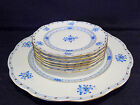 HEREND WALDSTEIN BLUE 6 PCS DESSERT PLATES AND ONE PC.CAKE PLATE ,VERY RARE