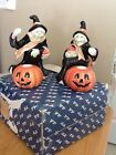 Fitz and Floyd 1988 Halloween Witch Candleholders
