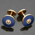 Authentic 2010s CARTIER Sunshade Diamond Blue Enamel Rose Gold Cufflinks $10000
