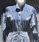 Vintage 80s Dress ALL THAT JAZZ Western Country Denim Chambray Lace Cowgirl S