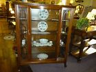 Antique Oak Cabinet Curio, Bow front door 1/4sawn Oak, brass pull refinished