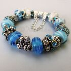 Genuine Sterling Silver Pandora Bracelet With Turquoise Blue Murano Glass Beads