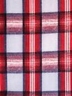 Cotton backed Flannel Red White Black light Blue Tartan Plaid 36 in. x  3 yds.