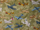 VINTAGE PLANE AIRPLANES FIGHTER PLANES TAN OLIVE COTTON FABRIC FQ