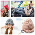 Ultracoarse Curling Woven Wool Cap Knitting Thick Winter Warm Beanie Baggy Hat