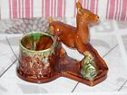 ANTIQUE FRENCH MAJOLICA FAWN MATCH HOLDER, signed